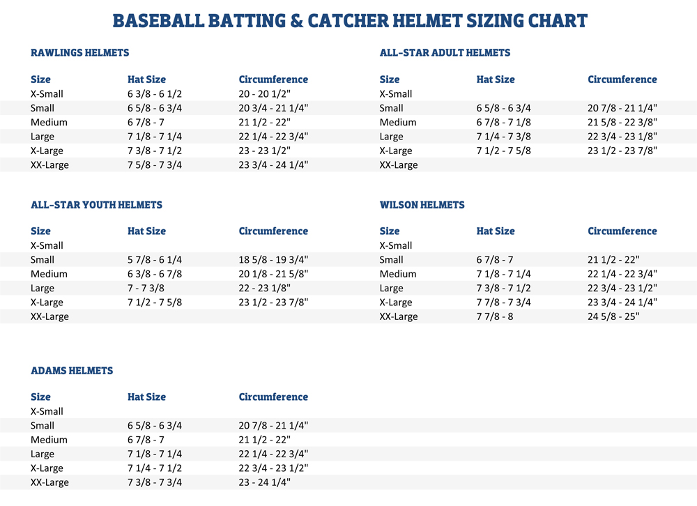 Sizing Charts American Football Equipment Baseball