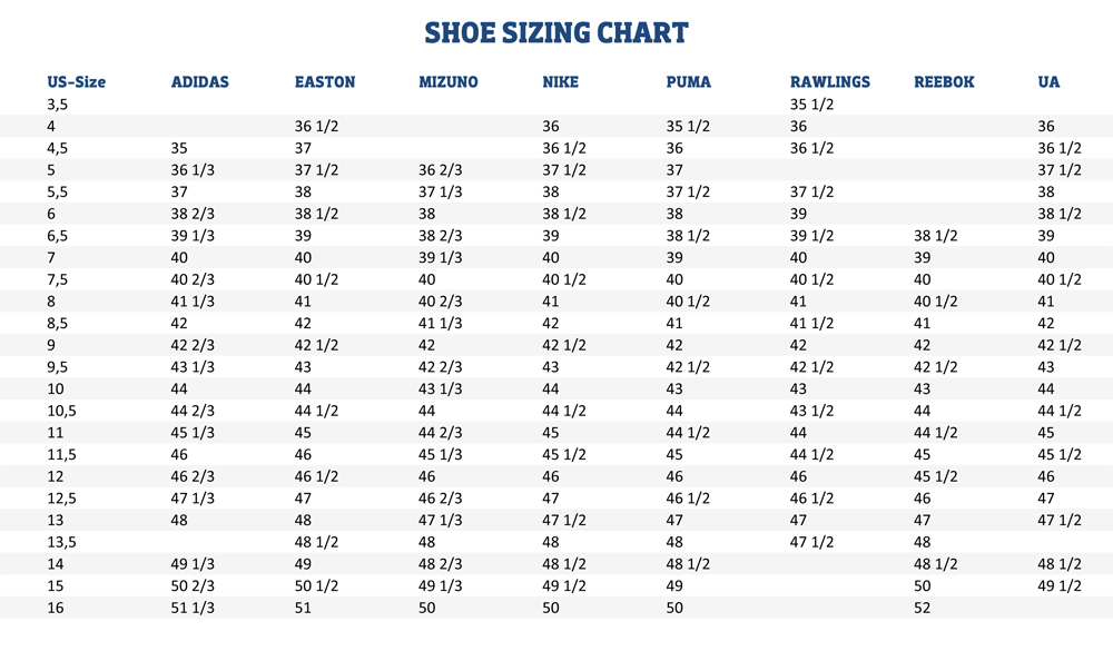 Shoe Size Guide - Wide Soccer Cleats