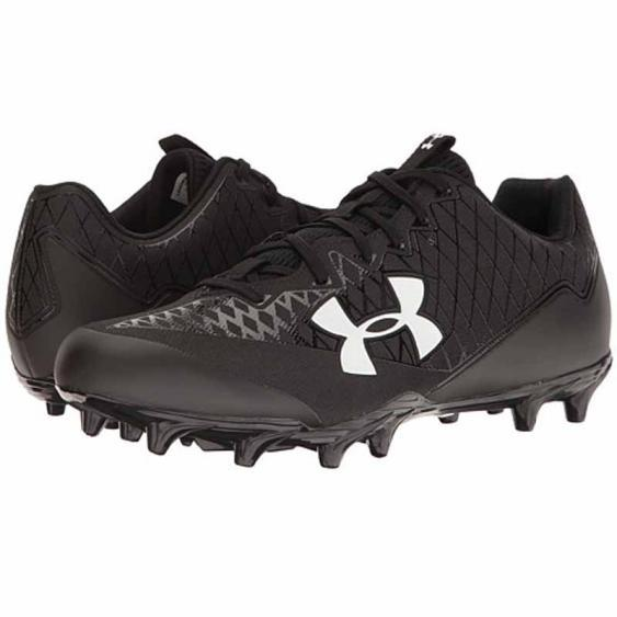 Black Under Armour Mens Nitro Low MC Lace Up American Football Boots