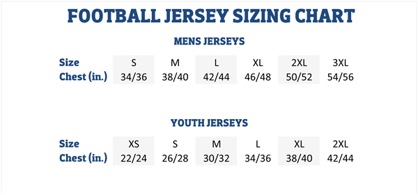 American Football Jersey Sizing