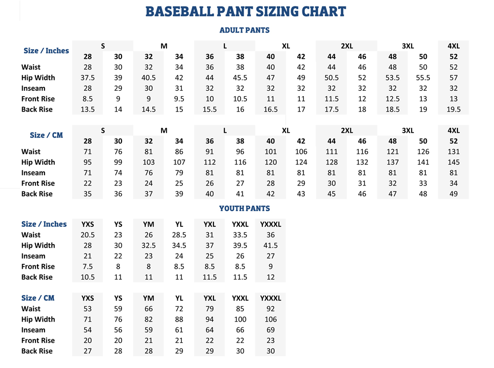 Sizing Charts | American Football Equipment, Baseball, Softball