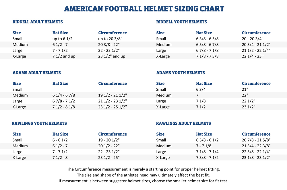 American Football Helmet Sizing