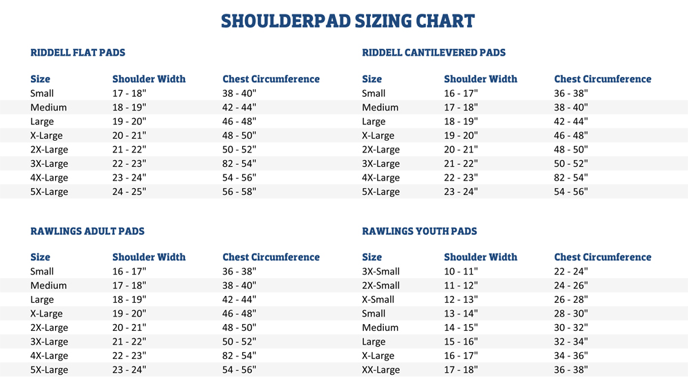 American Football Shoulderpad Sizing 90d97efed