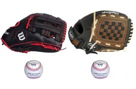 Baseball Set 1 | Adult 12'' & Youth 11,5'' Glove + 9'' Balls - Forelle American Sports Equipment