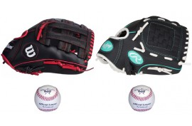 Baseball Set 2 | Adult 12'' & Youth 10'' Glove + 9'' Balls - Forelle American Sports Equipment