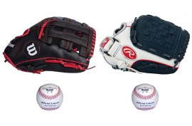 Baseball Set 2 | Adult 12'' & Youth 11'' Glove + 9'' Balls - Forelle American Sports Equipment