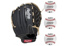 Rawlings Baseball Set 3|1x PM115BCB 10,5'' LH + 3x ROLB3 9'' - Forelle American Sports Equipment